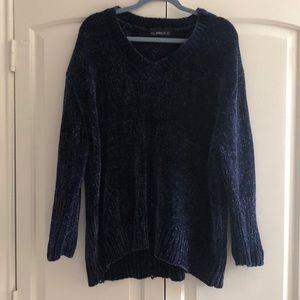 Zara Chenille Navy Sweater